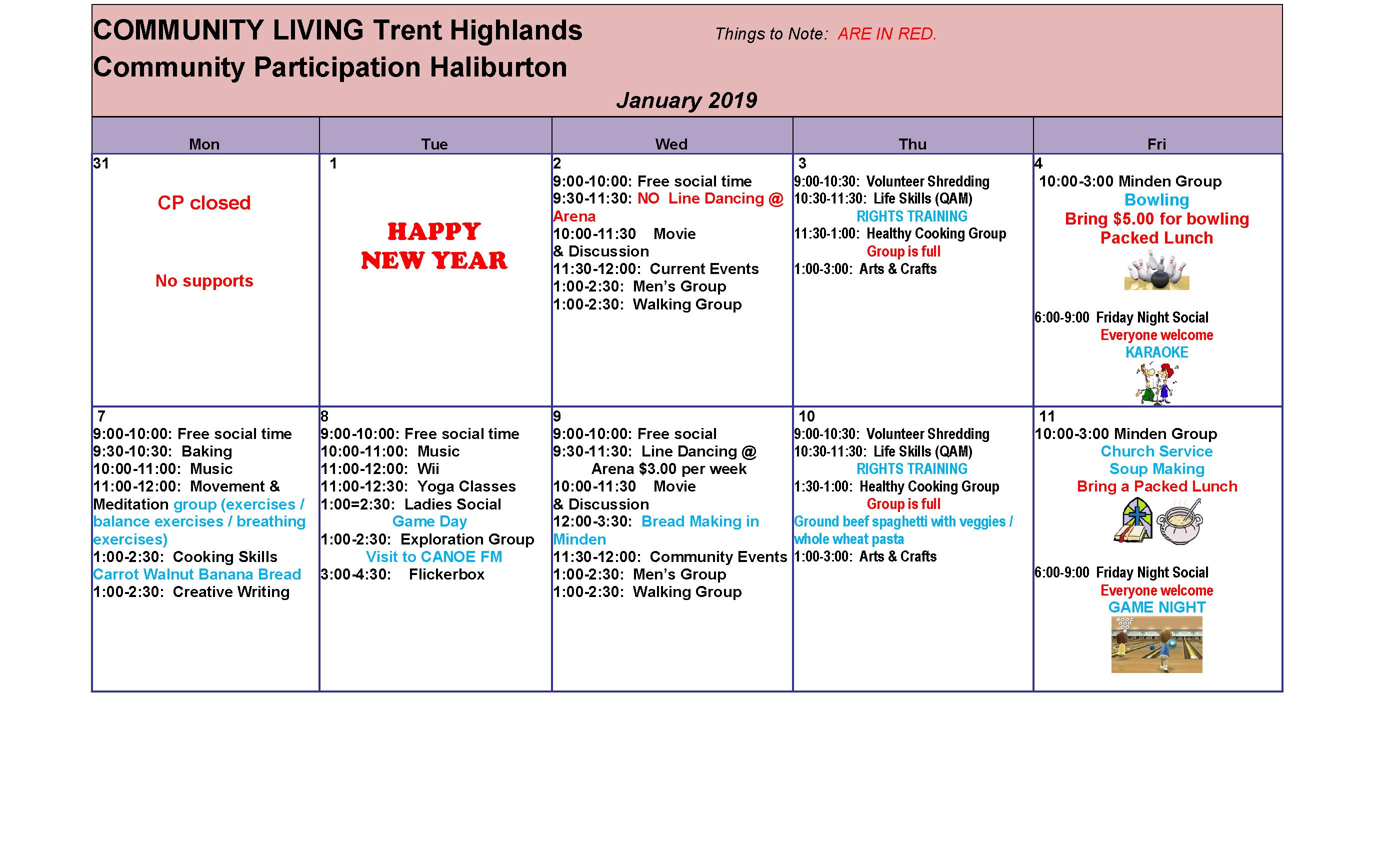 Winter 2019 Connex Calendars are Online | Community Living Trent